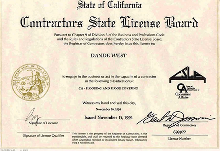 California State License Desc