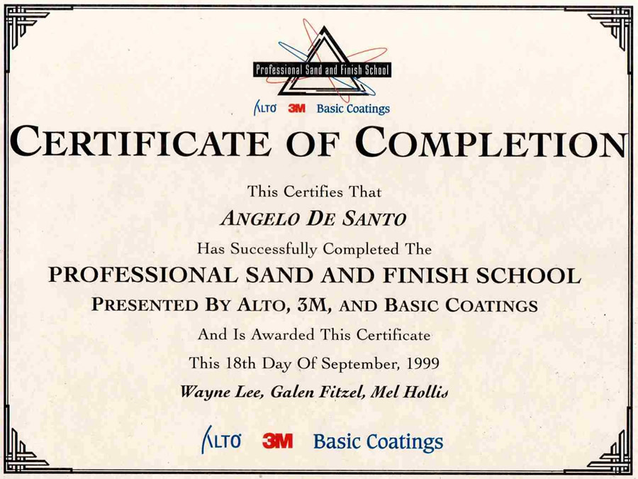Certificate of Completion - Professional Sand & Finsh School
